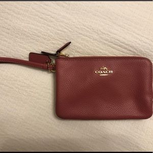 COACH double zipper wrist wallet